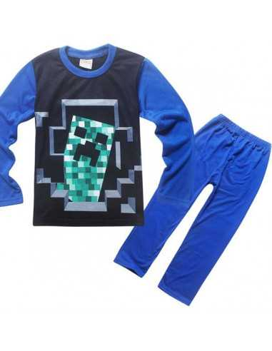 Пижама Minecraft Крипер синяя
