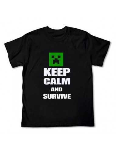 Футболка Minecraft  Ceep Calm and Survive чёрная