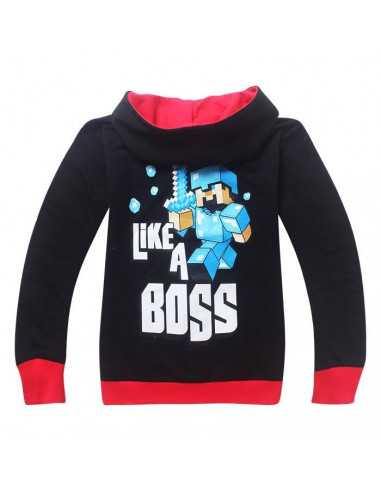 Кофта с капюшоном Майнкрафт Like a Boss черная