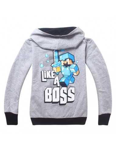 Кофта с капюшоном Майнкрафт Like a Boss серая