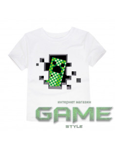 Футболка Minecraft Creeper белая