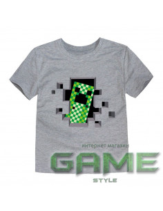 Футболка Minecraft Creeper серая