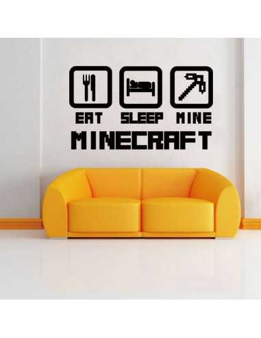 Наклейка стикер Eat Sleep Mine Minecraft интерьерная