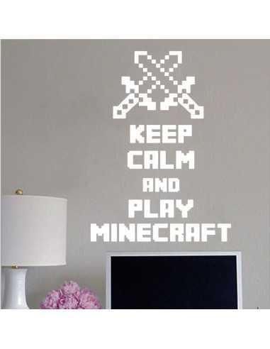 Наклейка стикер Keep Calm and Play Minecraft интерьерная