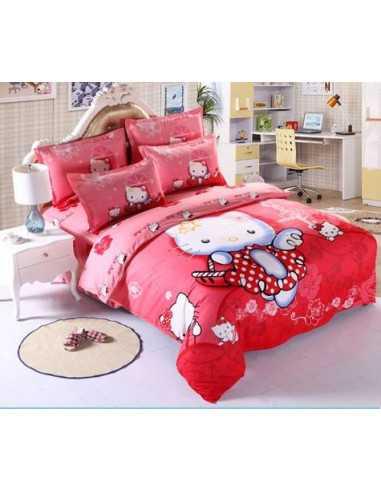 Детское постельное белье Hello Kitty красныйq