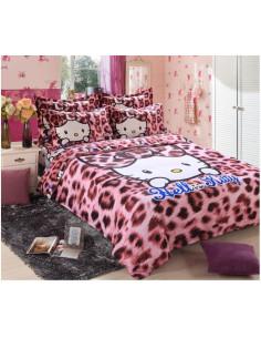 Детское постельное белье Hello Kitty розовый леопард