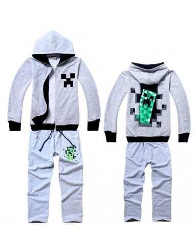 Спортивный костюм на мальчика Minecraft Крипер серый
