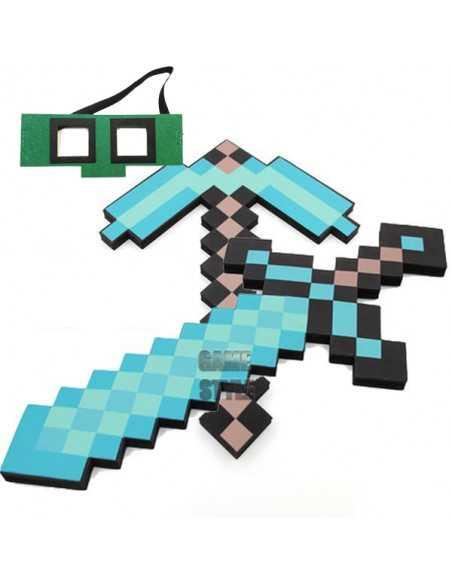 Пиксельный Алмазный набор Алмазный меч + Алмазная кирка Minecraft BaseSet