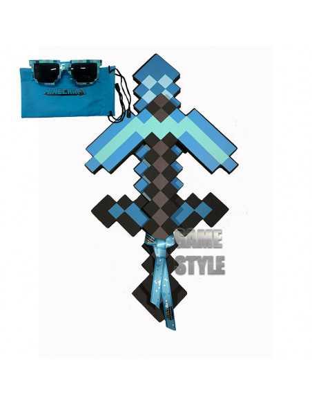 Пиксельный Алмазный набор оружия Майнкрафт (Меч Кирка Очки)