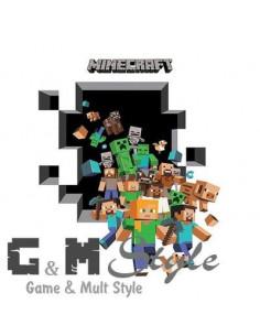 Наклейка стикер Minecraft интерьерная Герои большая
