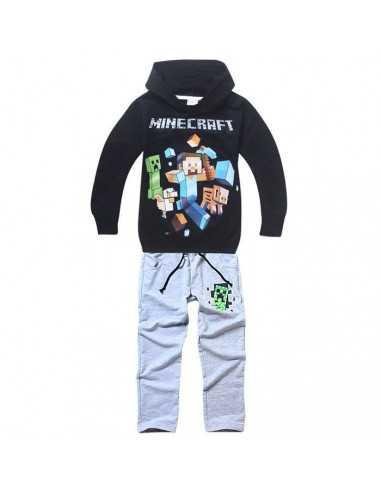 Черный костюм на мальчика Minecraft черный реглан серые брюки
