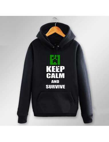 Толстовка Minecraft Крипер Ceep Calm and Survive с карманами