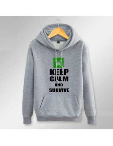 Толстовка Minecraft Крипер Keep Calm and Survive с карманами серая