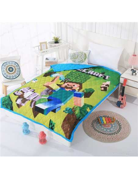 Хлопковое одеяло стеганое Minecraft