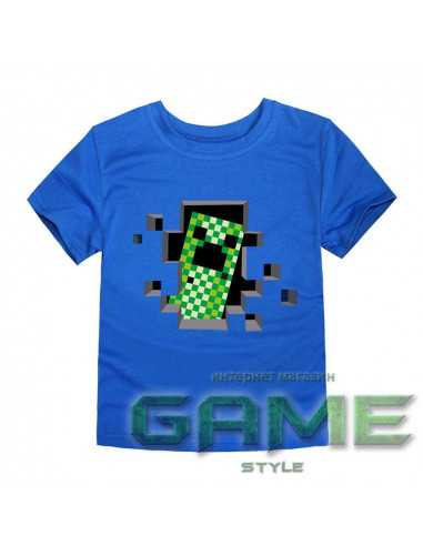 Футболка Minecraft Creeper синяя