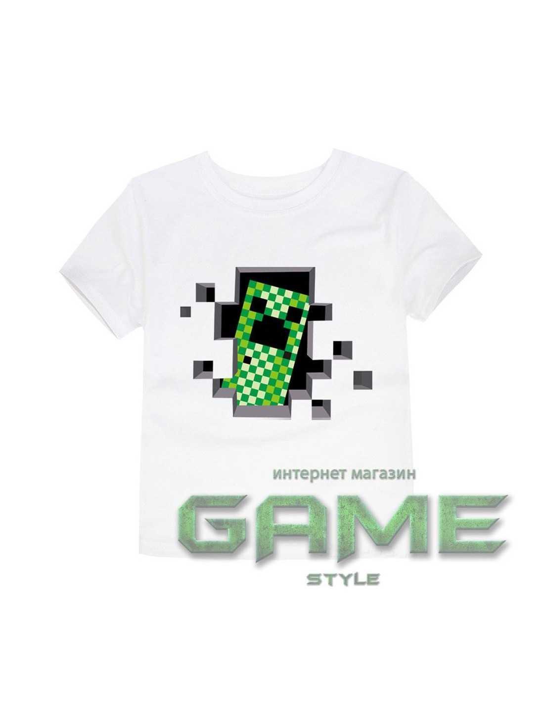Футболка Minecraft Creeper белая
