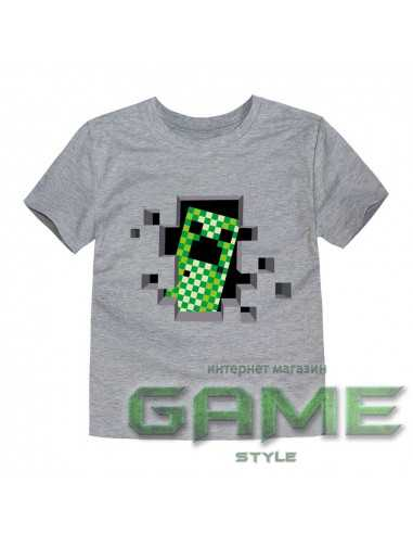 Футболка Minecraft Creeper серая