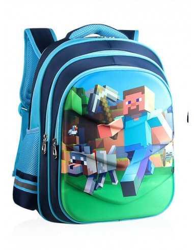 Рюкзак школьный Minecraft ортопедическая спинка голубой 36 см