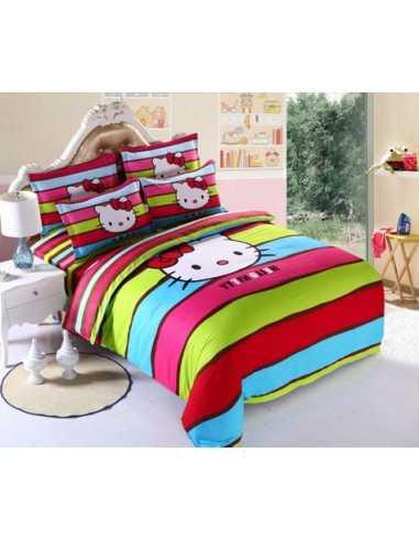 Детское постельное белье Hello Kitty полоска