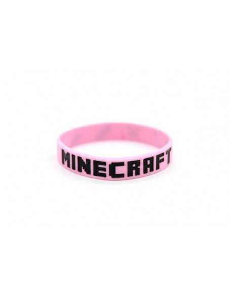 Силиконовый браслет Minecraft розовый