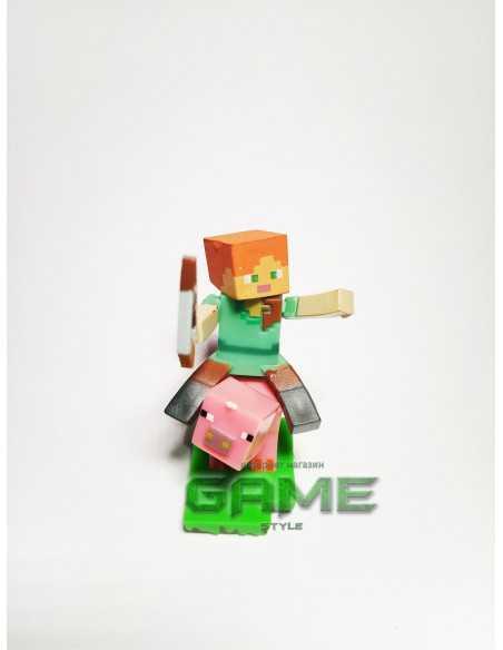 Фигурка конструктор Minecraft Алекс с луком на свинке