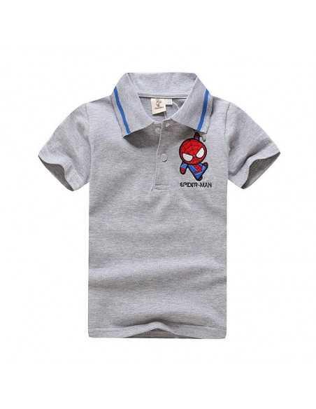 Детская футболка поло с логотипом Spider-Man серая
