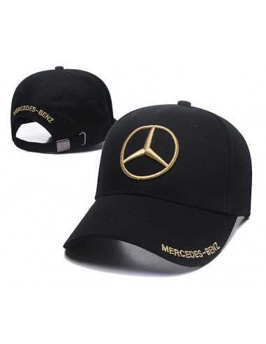 """Кепка бейсболка """"Mersedes-Benz"""" чёрная с золотой вышивкой"""