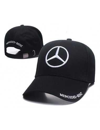 """Кепка бейсболка """"Mersedes-Benz"""" чёрная с белой вышивкой"""