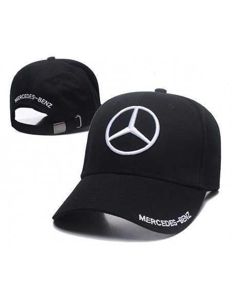 """Кепка бейсболка \\""""Mersedes-Benz\\"""" чёрная с белой вышивкой"""
