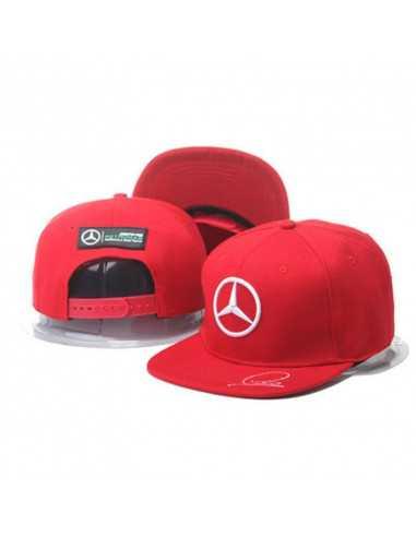 """Кепка рэперка  """"Mersedes Petronas F1"""" красная с белой вышивкой"""