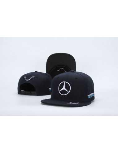 """Кепка рэперка  """"Mersedes Petronas F1"""" чёрная с белой вышивкой"""