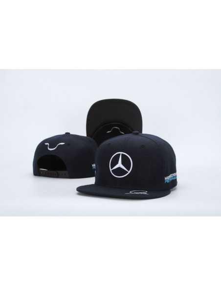 """Кепка рэперка \\""""Mersedes Petronas F1\\"""" чёрная с белой вышивкой"""