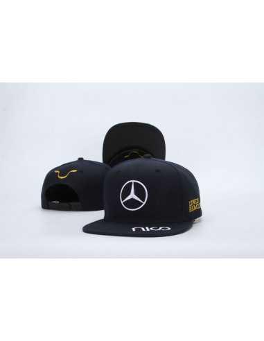 """Кепка рэперка  """"Mersedes Petronas F1"""" чёрная с золотой вышивкой"""