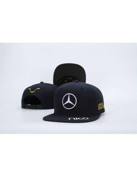 """Кепка рэперка \\""""Mersedes Petronas F1\\"""" чёрная с золотой вышивкой"""