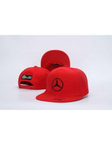 """Кепка рэперка  """"Mersedes Petronas F1"""" красная с чёрной вышивкой"""
