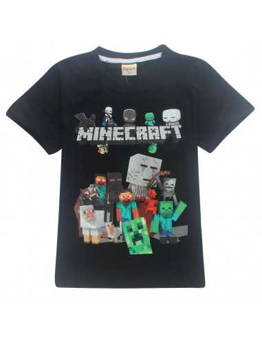Футболка чёрная Minecraft Все герои