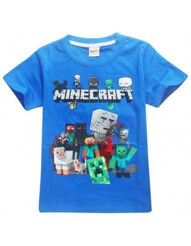 Футболка синяя Minecraft Все герои