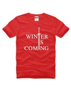 "Футболка \\""Winter is comming\\"" Игра Престолов красная с белым"
