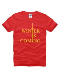 "Футболка \\""Winter is comming\\"" Игра Престолов красная с желтым"