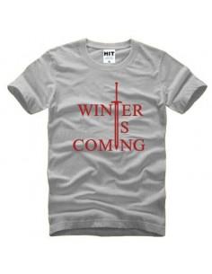 """Футболка \\""""Winter is comming\\"""" Игра Престолов серая с красным"""