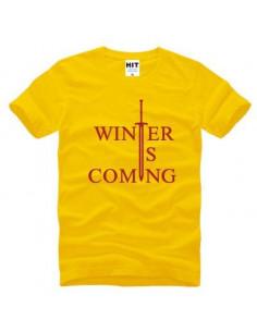 "Футболка \\""Winter is comming\\"" Игра Престолов желтая с красным"