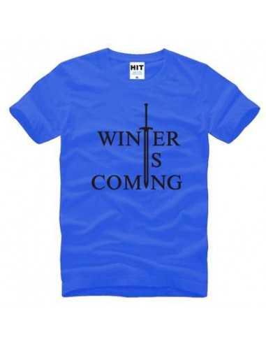 "Футболка ""Winter is comming"" Игра Престолов синяя с чёрным"