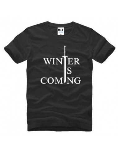 "Футболка ""Winter is comming"" Игра Престолов чёрная с белым"