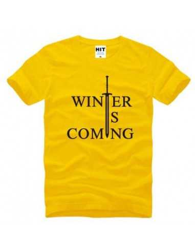 "Футболка ""Winter is comming"" Игра Престолов желтая с чёрным"