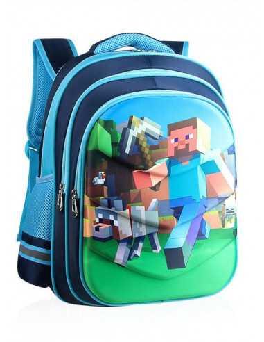 Рюкзак школьный Minecraft ортопедическая спинка голубой 42 см