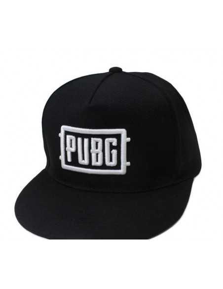 Рэперская бейсболка снепбек PUBG черная с белой надписью