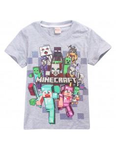 Футболка серая Minecraft Вперед все герои