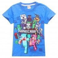 Футболка синяя Minecraft Вперед все герои