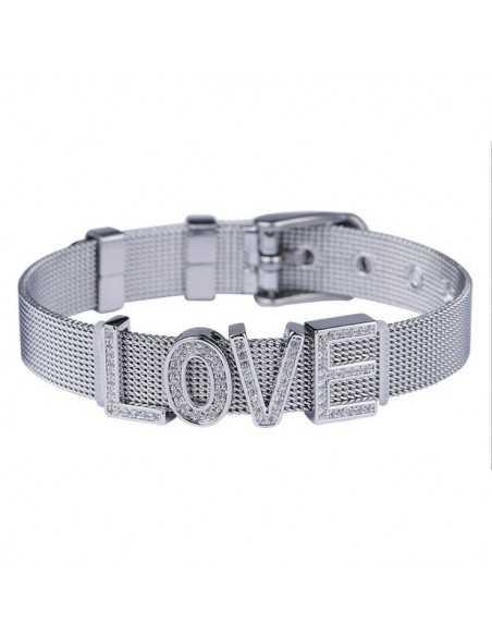 Металлический женский браслет с надписью LOVE