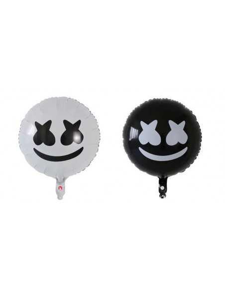 Шарики фольгированные круглые Marshmello черные белые